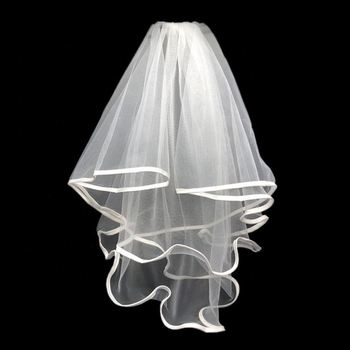 Cute White Little Bridal Wedding Veil, Bachelorette Party Wedding Veil with Comb