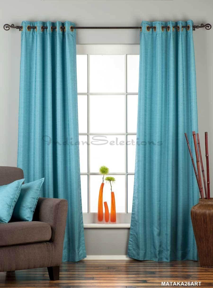 Turquoise Ring Top Matka Raw Silk Curtain / Drape - 43W x 96L - Piece