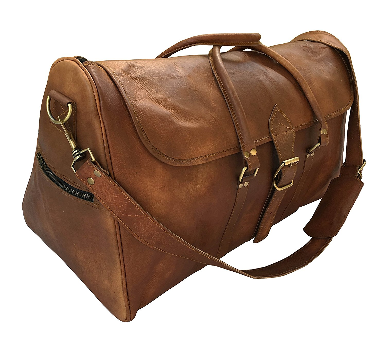 kk's 24 Inch real goat leather vintage genuine leather travel duffel bags luggage bags gym bags overnight holdall bags for men and women