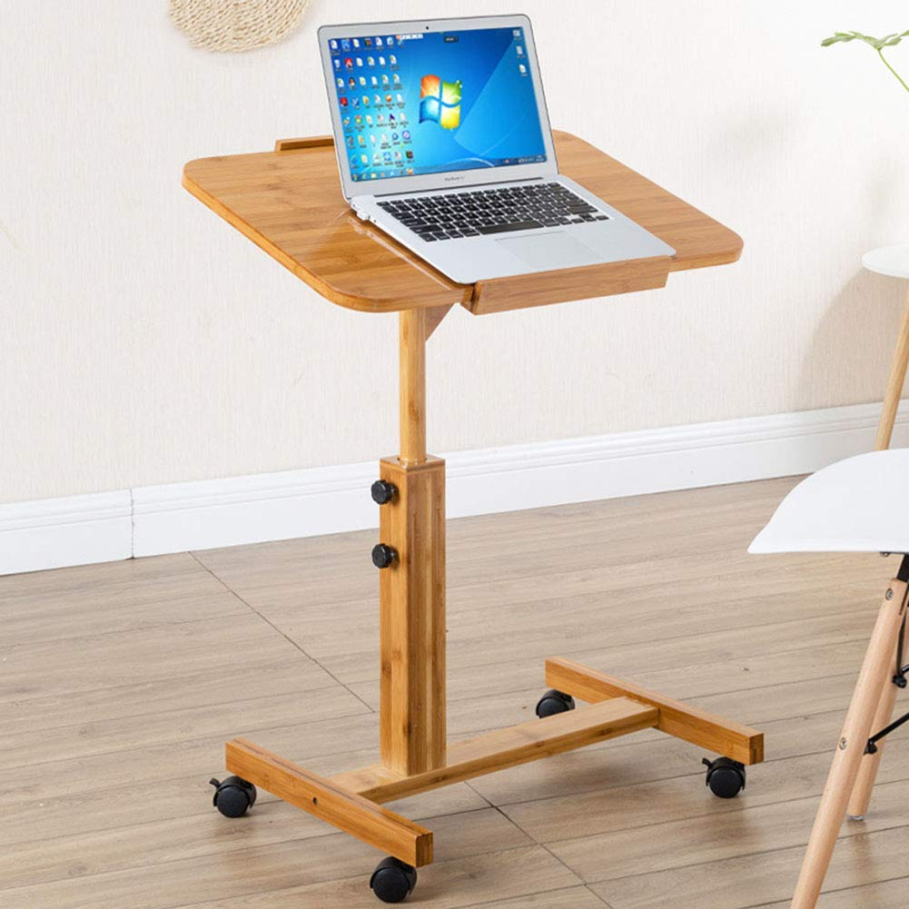 NEYIUIA Computer Desks for Small Spaces Floor-Standing Folding Table/Laptop Table/Study Desk, Movable Adjustable Angle/Height (62-94Cm),705094Cm