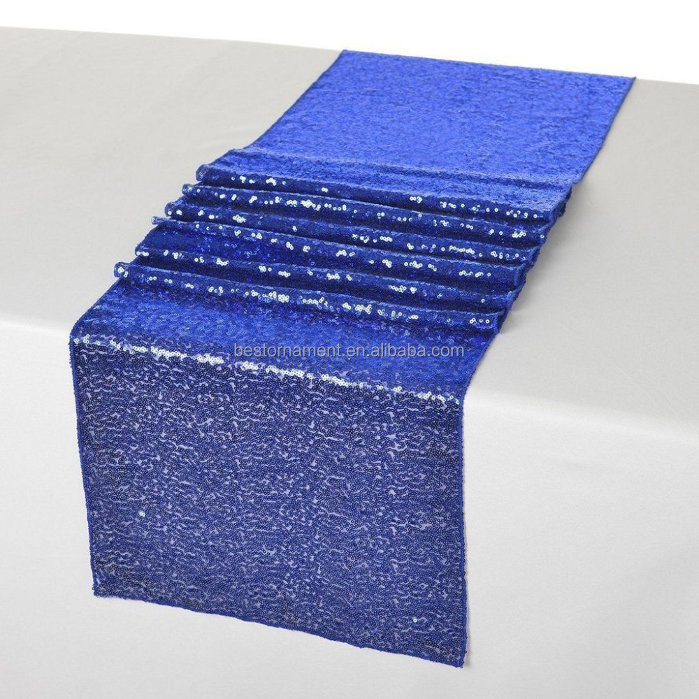 Blue Sequins Decor 1 Table Runner Cloth For Wedding Birthday Party