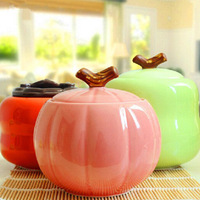 custom small ceramic storage jar colorful porcelain pumpkin cruet condiment ceramic sugar jar with spoon cover