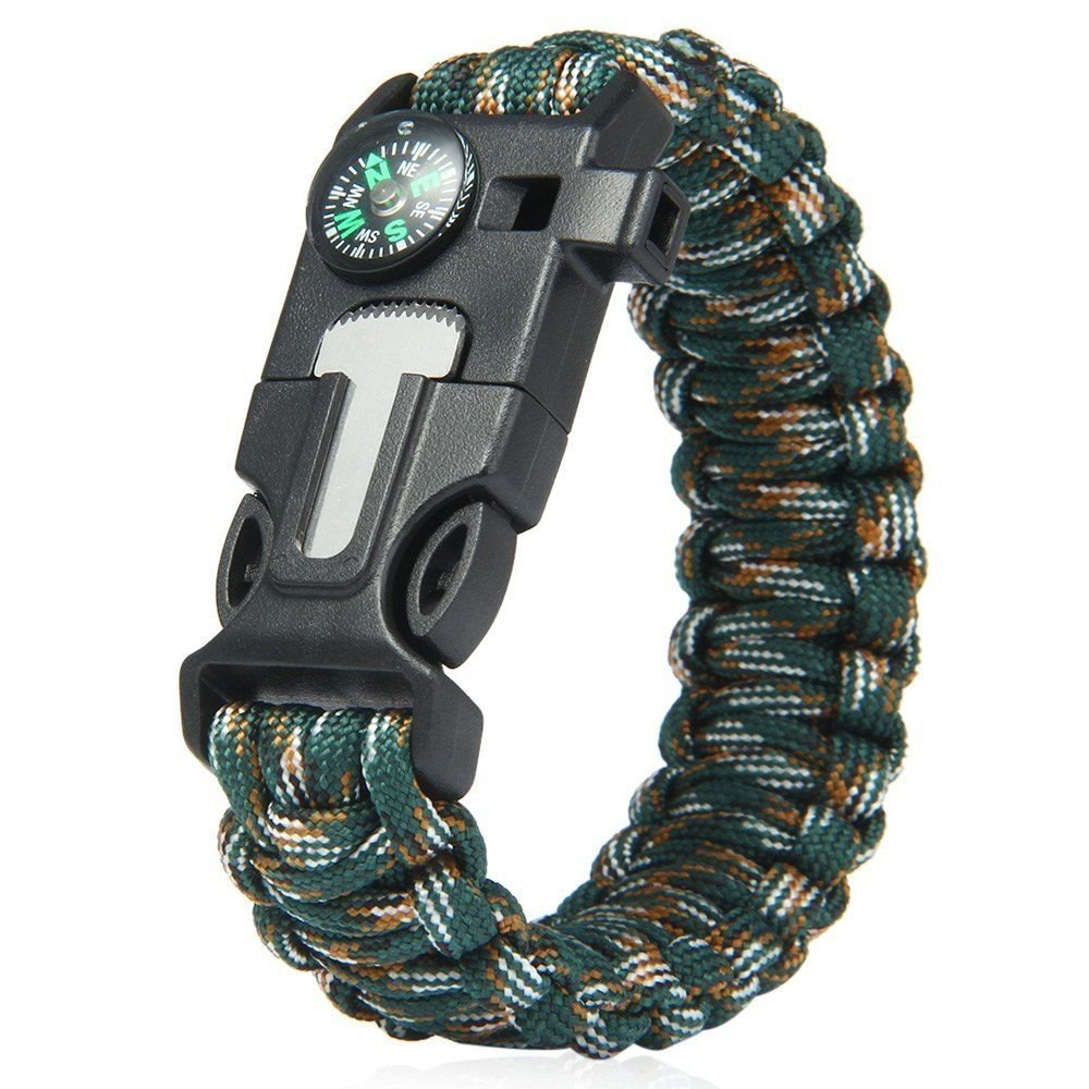 Get Quotations · Paracord Bracelet 5 in 1 Outdoor Survival Gear Escape  Flint Whistle Compass Scraper (Blue Camouflage ad313746099