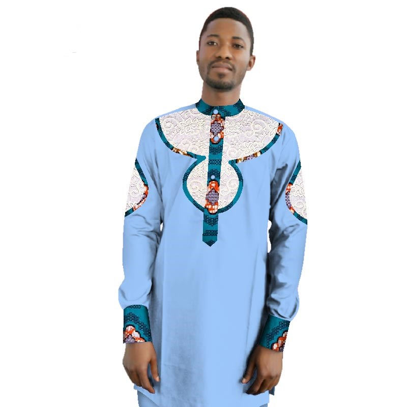 2018 Casual 100% Cotton Mens African Clothing Dashiki Patchwork Print Shirt Tops Bazin Riche Traditional African Clothing WYN421