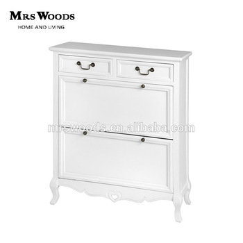 MW Home Antique French Shabby Chic Living Room Pine Wood White Painted 2  Drawers Shoe Storage