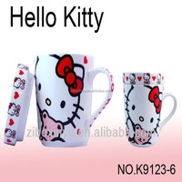 12oz White color Hello Kitty print ceramic mugs with lid FOR ZIBO XINYU