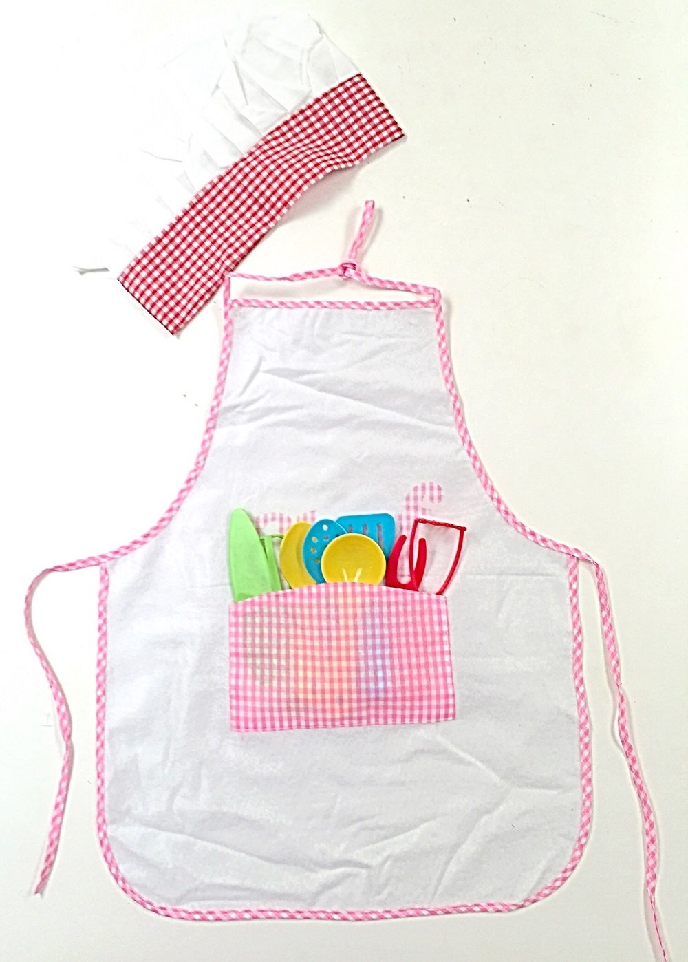bcd1a8631eda1 Get Quotations · Littlest Chef Kids Apron with Chefs Hat and 8 Piece  Cooking Utensil Set (Pink)