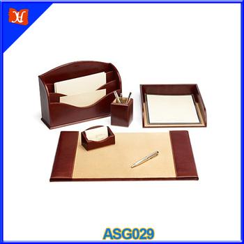 Men Office Business Luxury Desk Accessories Leather Chairman Set