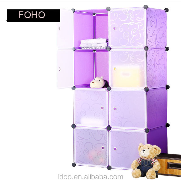 New style wardrobe assemble by doors and panels bedroom cubes toy wardrobe kids portable bedroom closet wardrobe FH-AL0030-8