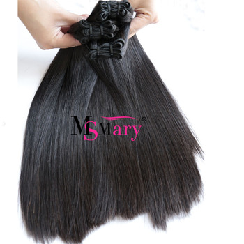 Wholesale Blunt Cut 12A Super Double Drawn Raw Virgin Cuticle Aligned Funmi Straight Hair With Closure
