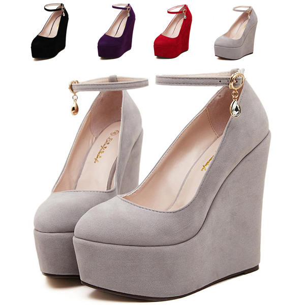 Get Quotations · Women Wedge High Heel Ankle Buckle Strap Platform Pumps  Flock Close Toe Autumn Shoes 2015 Wedding