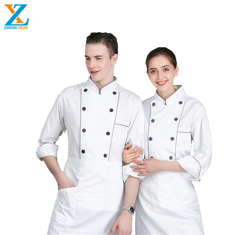 Promotion long sleeve double-breasted jacket restaurant kitchen cotton chef uniform