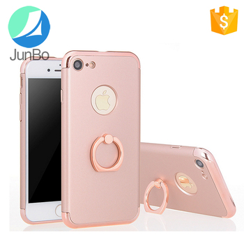 Popular phone accessories finger ring cover case 3 in 1 electroplate mobile phone case for iphone 7