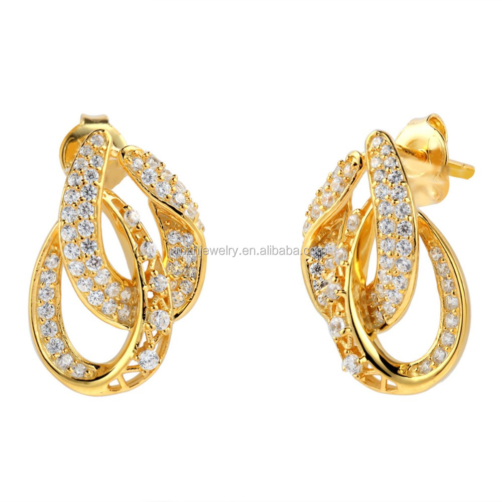 earrings buy swarovski stud round hallmarked online products gold shaped studded with zirconia