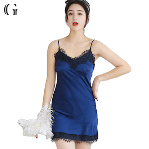Wholesale Satin Sleepwear Simple Slip Sexy Lady's Nightdress Pajamas
