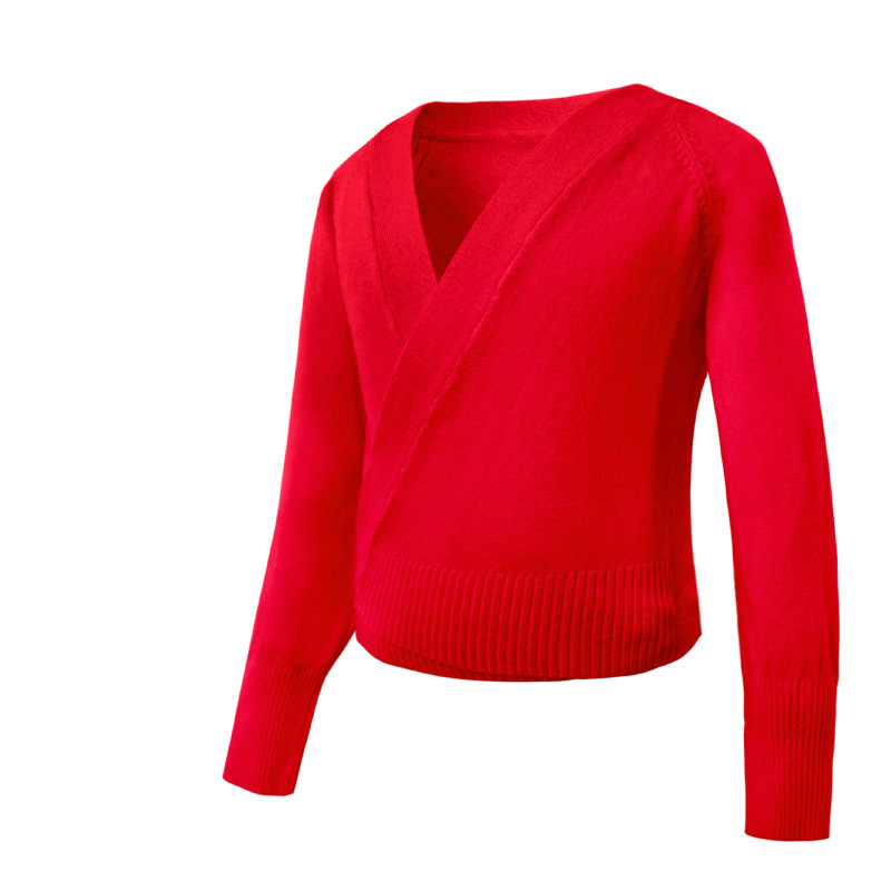 Red Wrap Cardigan Sweater Soft Acrylic Ballet Sweaters
