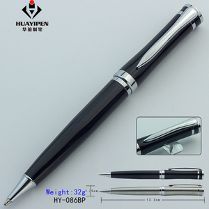 Luxury black ballpoint advertising silver pen custom logo promotion personalized stainless steel metal gift ball pen