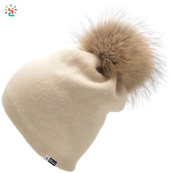 Women s Pure Cashmere beanie hat pom pom beanie Raccoon Fur ball Knit Beanie  Slouchy Hat a4bdf93544c