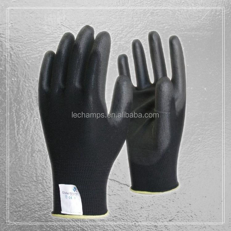 13 Guage Black Nylon Lining Coated Black PU Dipped ESD Gloves Work