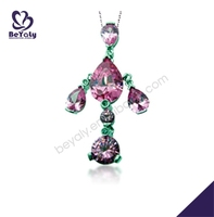 Graceful women pink cz silver jewellery statement necklace