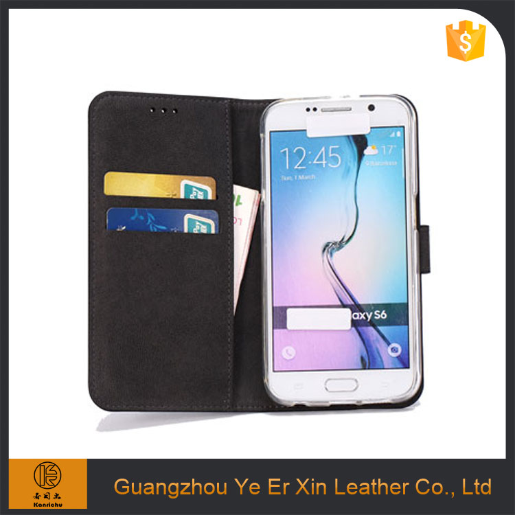 Factory price wholesale stand card wallet leather cell phone case for samsung s5 s6 s7