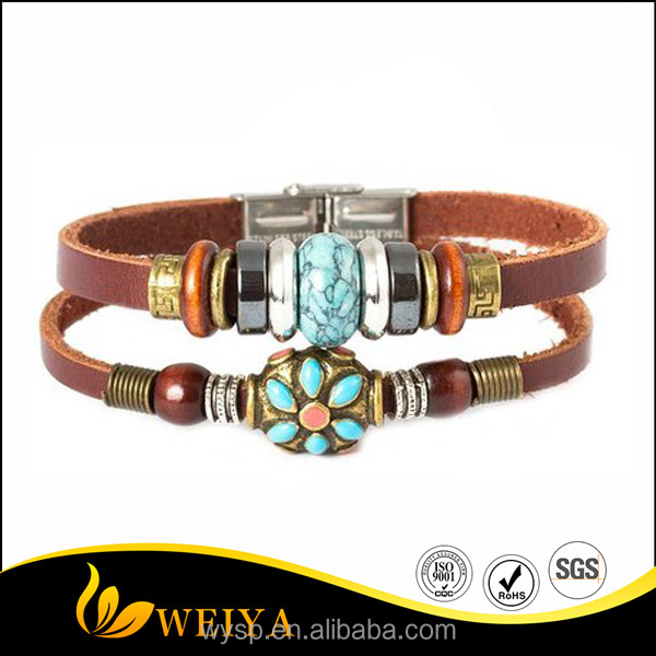 2016 Fashion Plaza Tibet Hand Gift Craft Leather Bracelet with Coral Bead & Simulated Calaite Bead