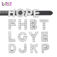 Wholesale Rhinestone Alloy Slide Letters For 10mm Wristband Bracelet And Dog Collars, Customized Personalized Slide Charms