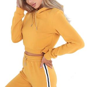 250f2a7aa670 Fashion Gym Women Blank Cotton Sweatshirt Girls Custom Crop Top Hoodie