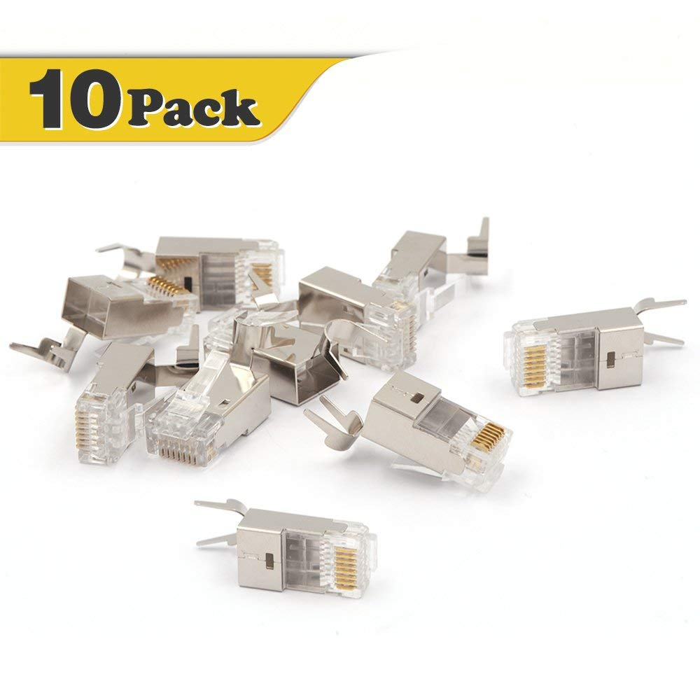 VCE 10 PACK Nickel Plated Shielded RJ45 Modular Plug for Cat6 / Cat6A / Cat7 Cable STP Solid and Stranded Ethernet Wire - 50u Gold-Plated