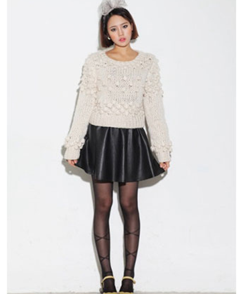 8756de3f791ae Get Quotations · 2015 Female Mini Short Women Runway Faux PU Leather Skirt  High-Waist Solid Pleated Flared
