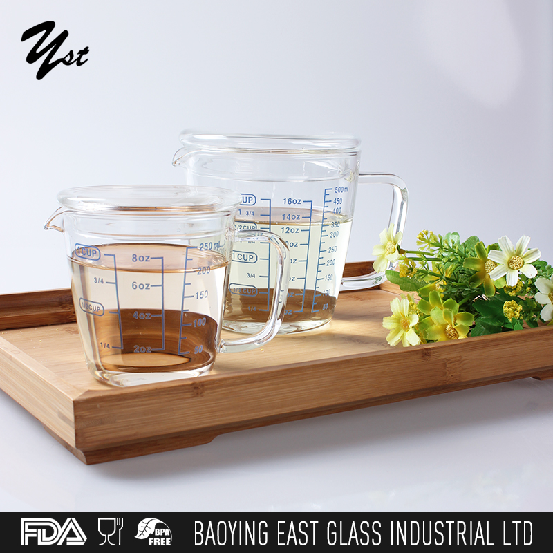 New design heat resistant measuring drinking glass cup