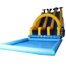 Inflatable swimming pool water slide for sale treehouse double lane slip slides for kids