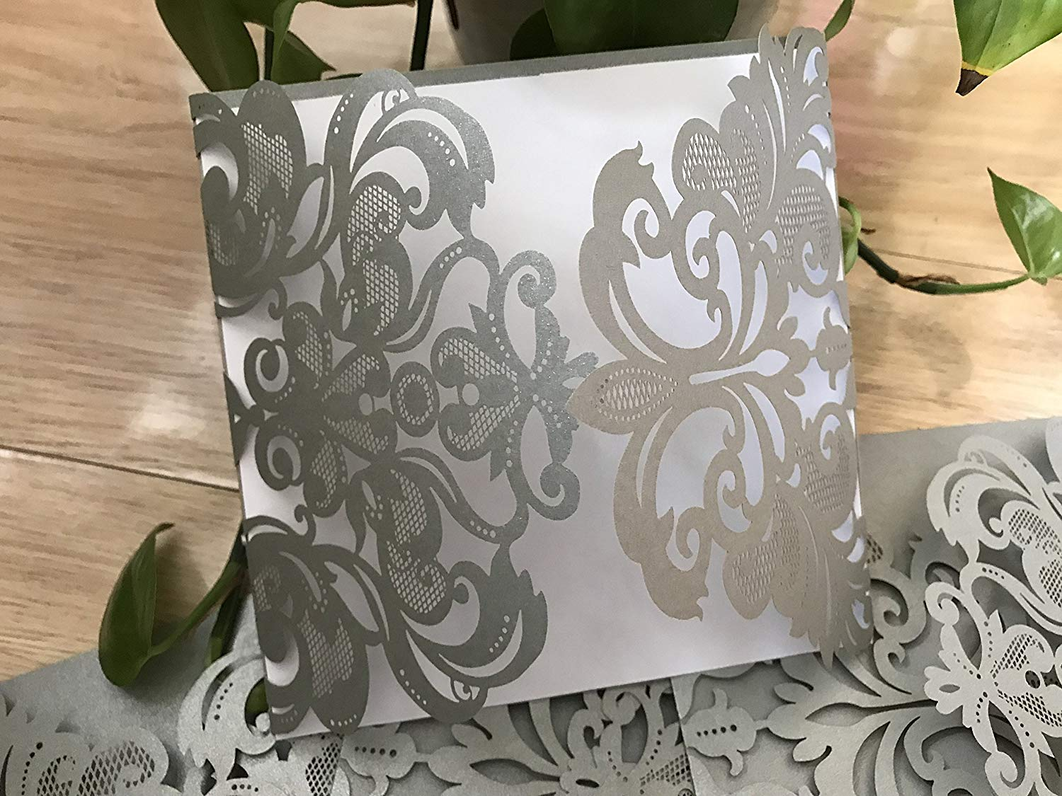 25pcs Pearl Silver Laser Cut Square Invitations,DIY Wedding Invitations,Wedding Cards,Quince,Sweet Sixteen Invitation Cards,Wedding Cards,Invitation Cards