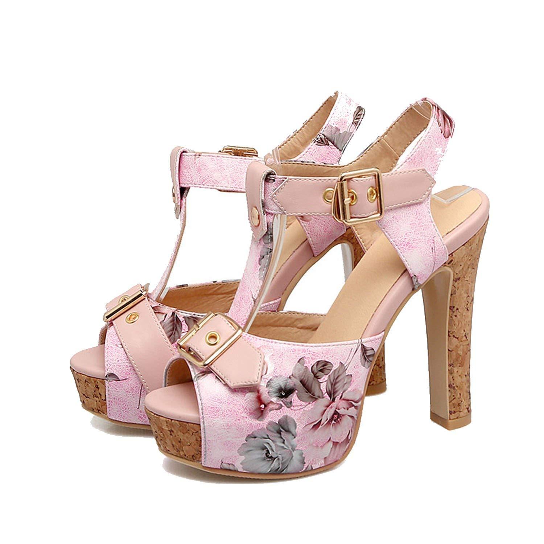253fd1d0966 Get Quotations · Sky-Pegasus 2018 Fashion Party Sandal High Heels Sandal  Buckle Printing Platform Sandal Size 32