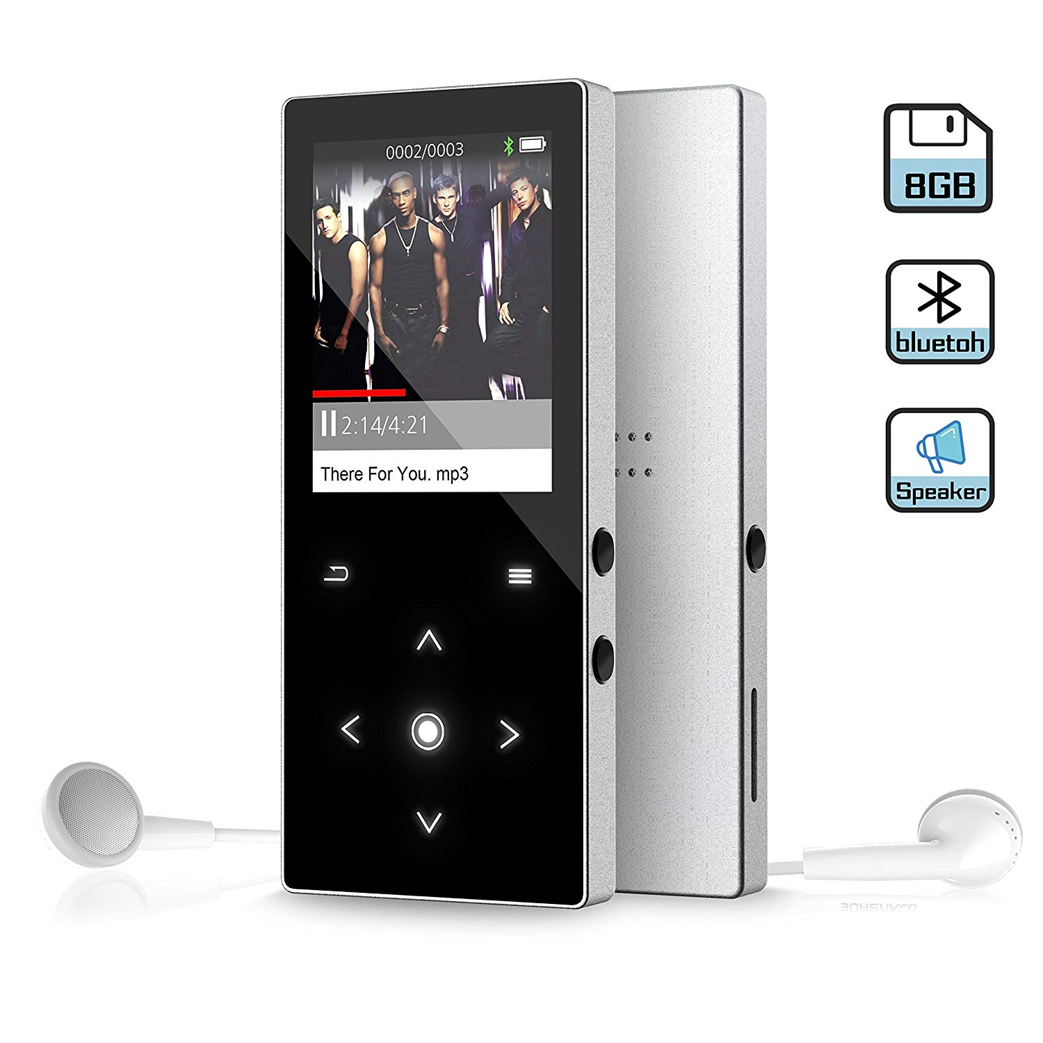 8GB MP3 Music Player with Bluetooth 4.0, Latest Dansrue Portable Digital Music Audio Player with FM Radio/Speaker, HD Sound Quality Earphones, Metal Shell Touch buttons, Sliver