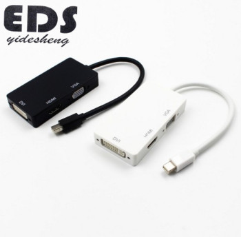 3 in 1 Mini Display Port DP Thunderbolt to DVI+VGA+HD Adapter for MacBook Pro Black and White