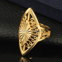The Middle East Cheap Dubai big flower shape rhombus diamond cut gold ring designs for men