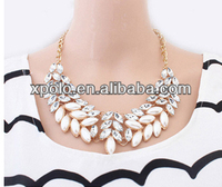 Wholesale price white Crystal resin beaded necklace jewelry / Gold plated Chain necklace