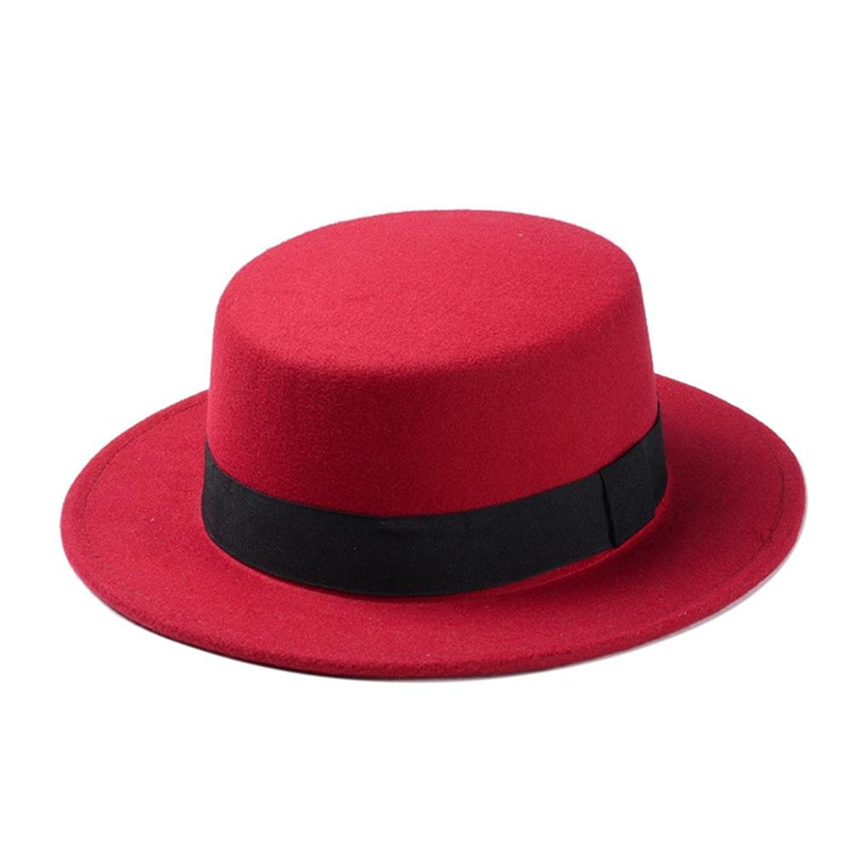 4c1665774f484 Get Quotations · LLPBUA-HAT Brand New Wool Boater Flat Top Hat For Women s  Felt Wide Brim Fedora