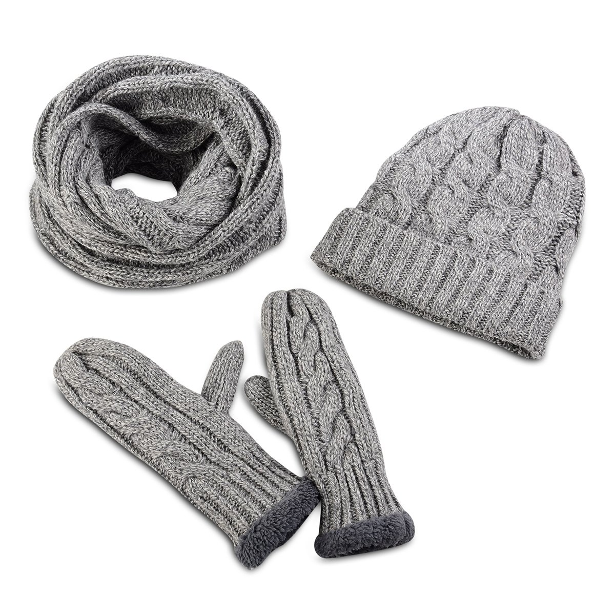 eaf9d5b3d76 Get Quotations · Secret Felicity 3pcs Soft Warm Thick Knitted Hat Gloves    Scarf Winter Set