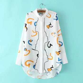 MS74699L Super popular women loose printed shirts
