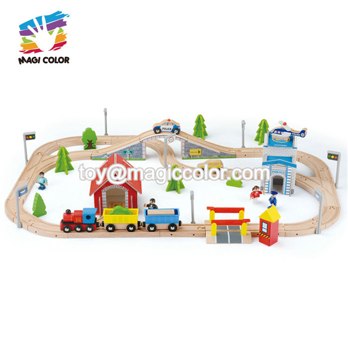 New design slot toy wooden toy car track set for children W04E081