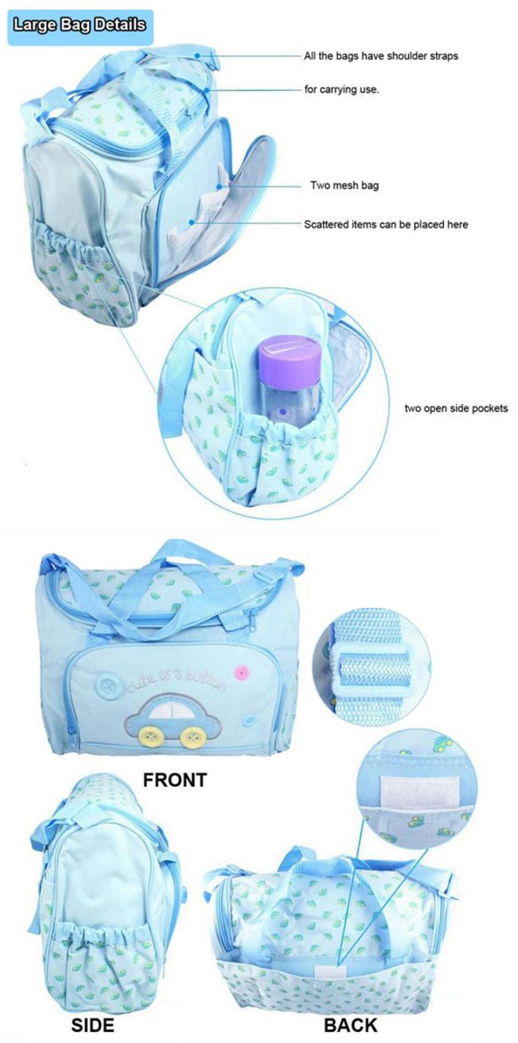Osgoodway2 China Wholesale 600D Polyester 4pcs/set Mummy Bag Baby Diaper Bag Handbag Set