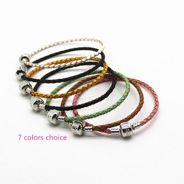Разной длины черный кожаный змея цепи стерлингового серебра 925 клип браслеты подходят для пандора стиль 925 подвески и бусины