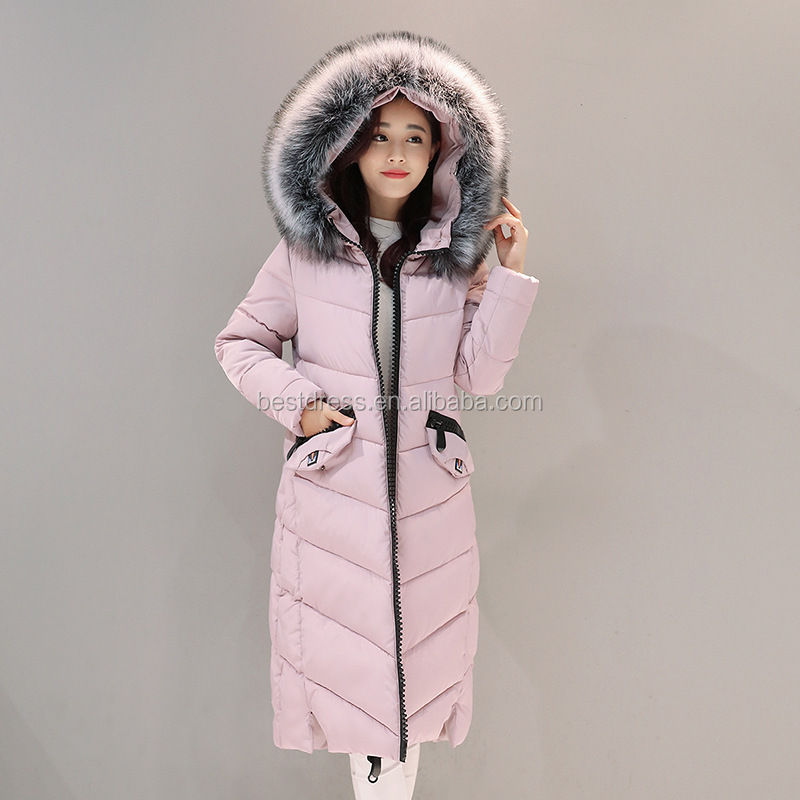 Autumn Winter New Fahion Women's Down Jacket Hooded Cotton Long Fur Collar Slim Women Parkas Zipper Ladies Outwear Parkas