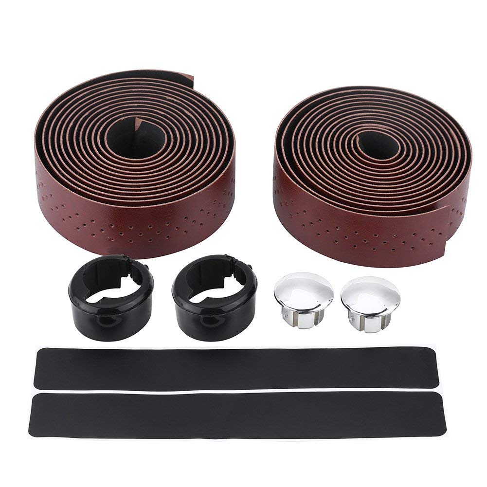 New Road Bike Bicycle PU Synthetic Leather Handlebar Bar Tape Brown 1 Pair