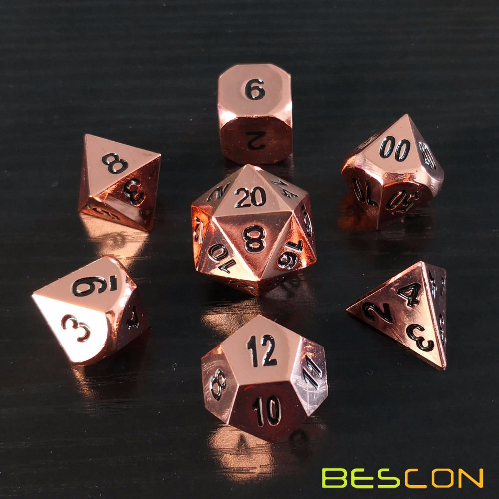 Bescon Heavy Duty Rose Copper Solid Metal Dice Set, Shiny Rose Metallic Polyhedral D&D RPG Game Dice 7pcs Set фото
