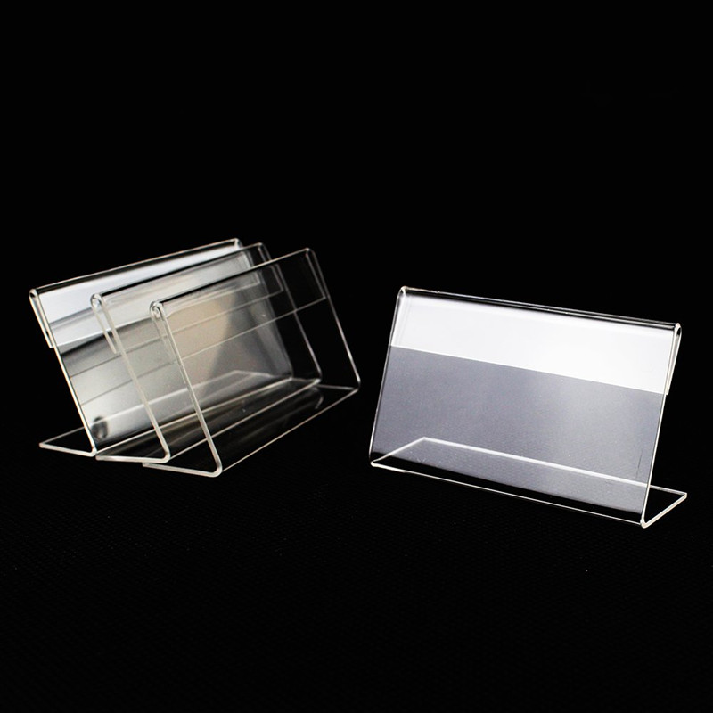 L Shape Counter Top Stand clear Acrylic Price Card Tag Label Stand Holders