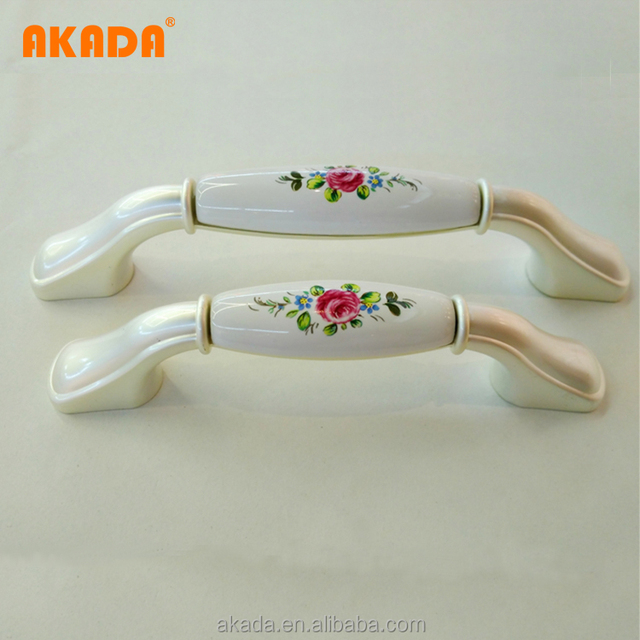 Oriental Classical Ceramic Bedroom Hardwares Furniture Cabinet Pull Handles  With Zinc Alloy Flower Style