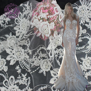 Hot sale wedding dress making white embroidery lace sequin beaded fabric